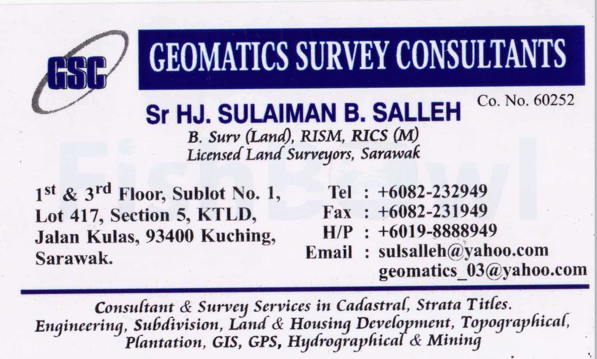 Geomatics survey consultants business card directory name card gsc bossg reheart Choice Image
